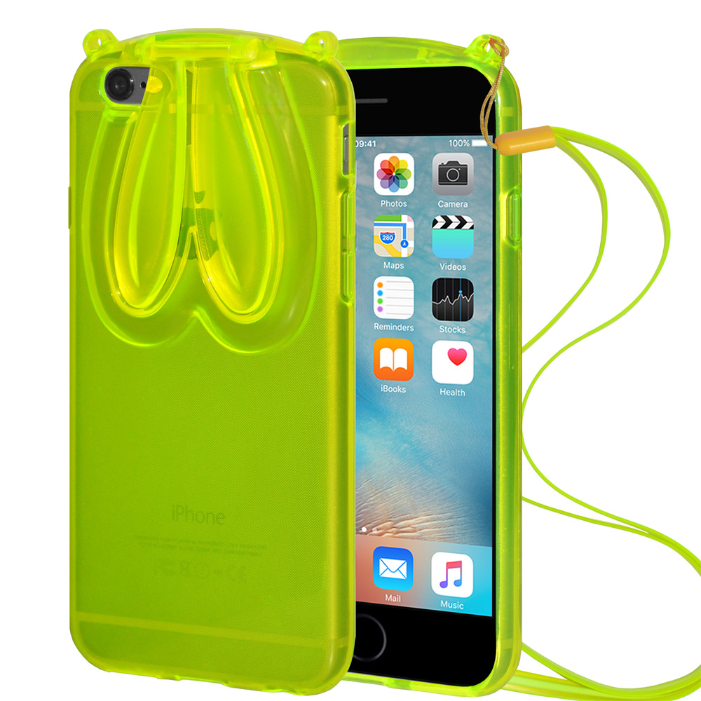 Designer Bunny Rabbit Ears TPU Case with Lanyard for Apple iPhone 6, iPhone 6s - Green