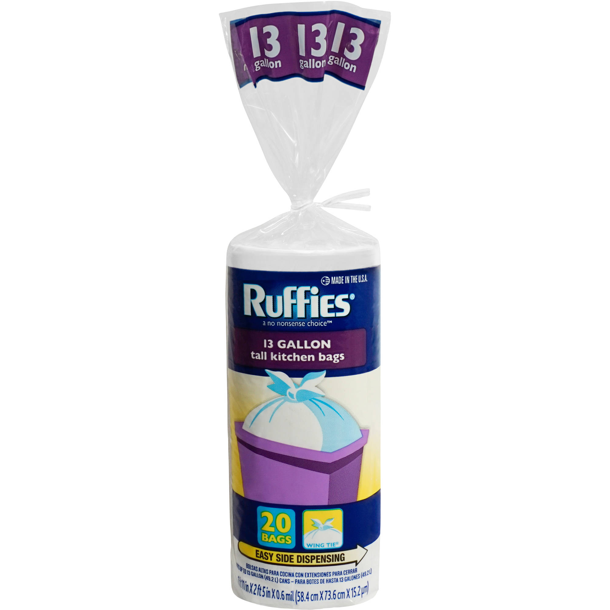 Ruffies Tall Kitchen Trash Bags, 13 gallon, 20 count
