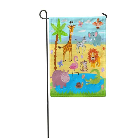 Add Wild Safari Jungle - KDAGR Baby Jungle and Safari Zoo Nature Wildlife of Wild Giraffe and Turtle Garden Flag Decorative Flag House Banner 12x18 inch