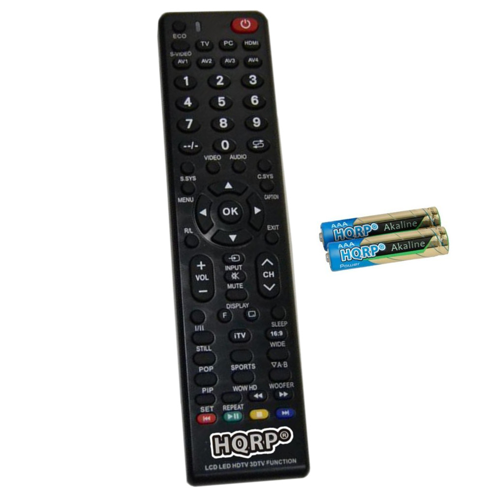 HQRP Remote Control for Sanyo DP46861 / DP47460 / DP46840 / DP46849 / DP46848 / DP46841 LCD LED HD TV Smart 1080p 3D Ultra 4K + HQRP Coaster