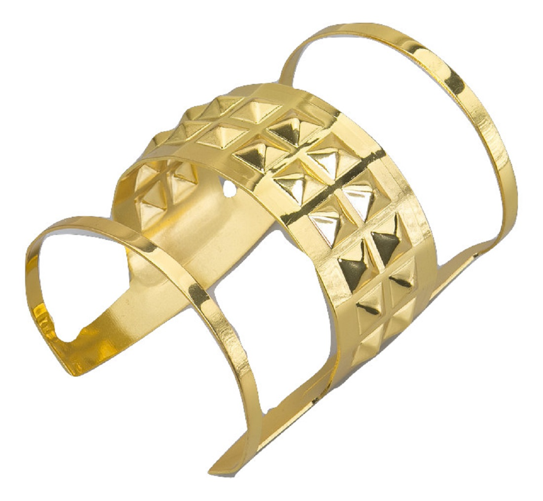 Gold Queens Bangle Bracelet Wrist Cuff Greek Goddess Egyptian Costume Accessory