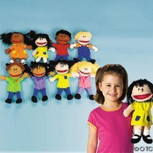 Fun Express Plush Happy Kids Hand Puppets Multi-Ethnic Collection (1-Pack of 8) by OTC