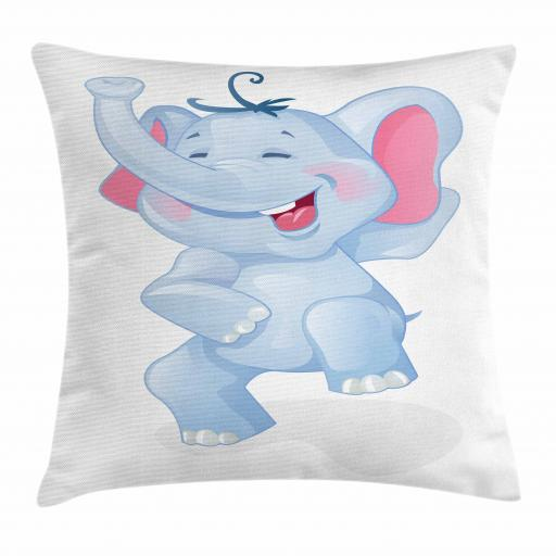 Elephant Throw Pillow Cushion Cover, Funny Laughing Animal Baby Shower Kindergarten Animal Happiness Kids Theme, Decorative Square Accent Pillow Case, 16 X 16 Inches, Baby Blue and Pink, by Ambesonne