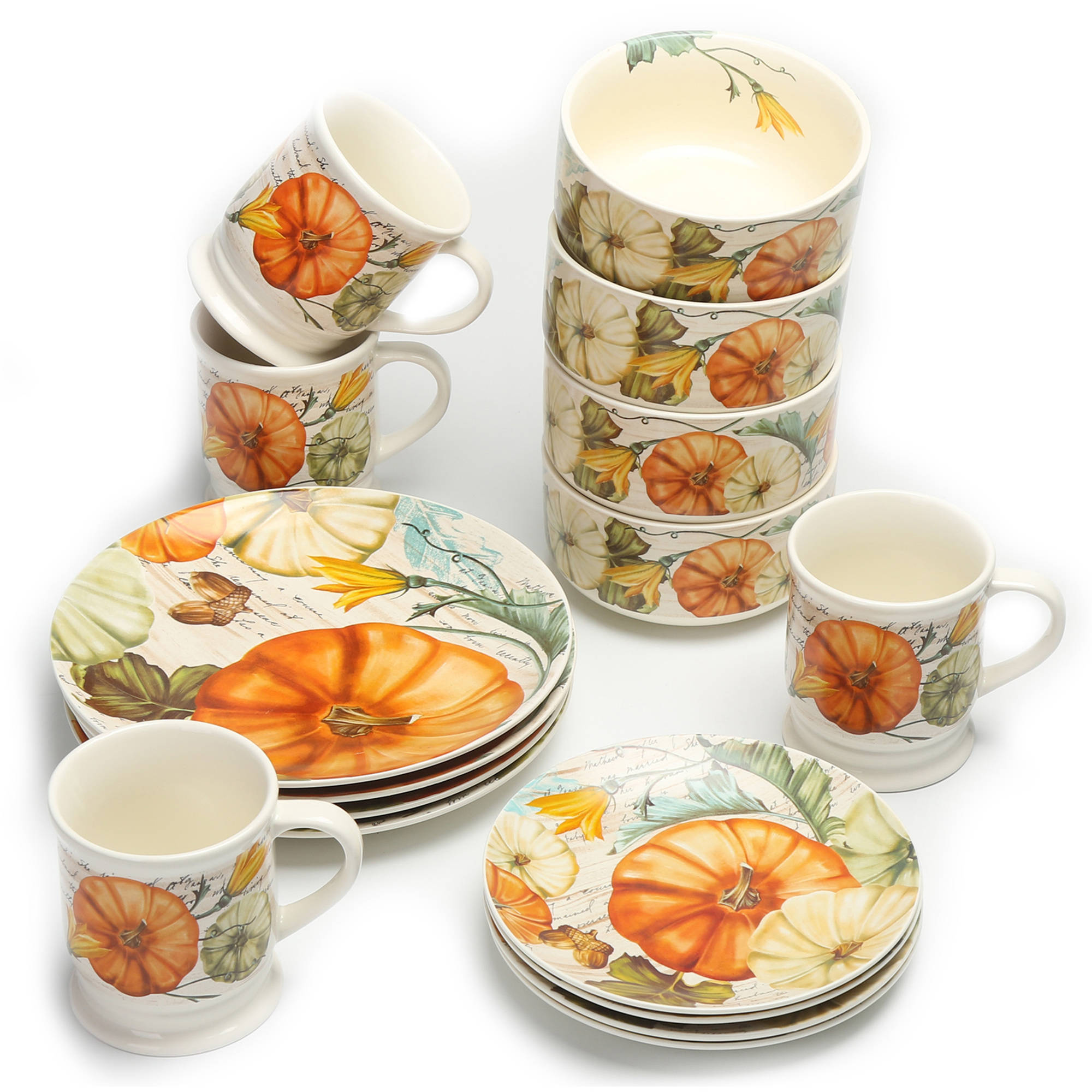 Mainstays 16-Piece Festive Fall Pumpkins Dinnerware Set  sc 1 st  Walmart & Thanksgiving Dinnerware