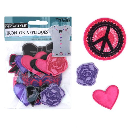 Next Style Applique Value Pack, Small Flowers/Hearts/Bows/Butterfly