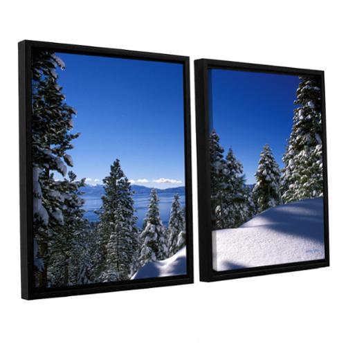 ArtWall 'Kathy Yates's Lake Tahoe in Winter' 2-piece Floater Framed Canvas Set 24x36