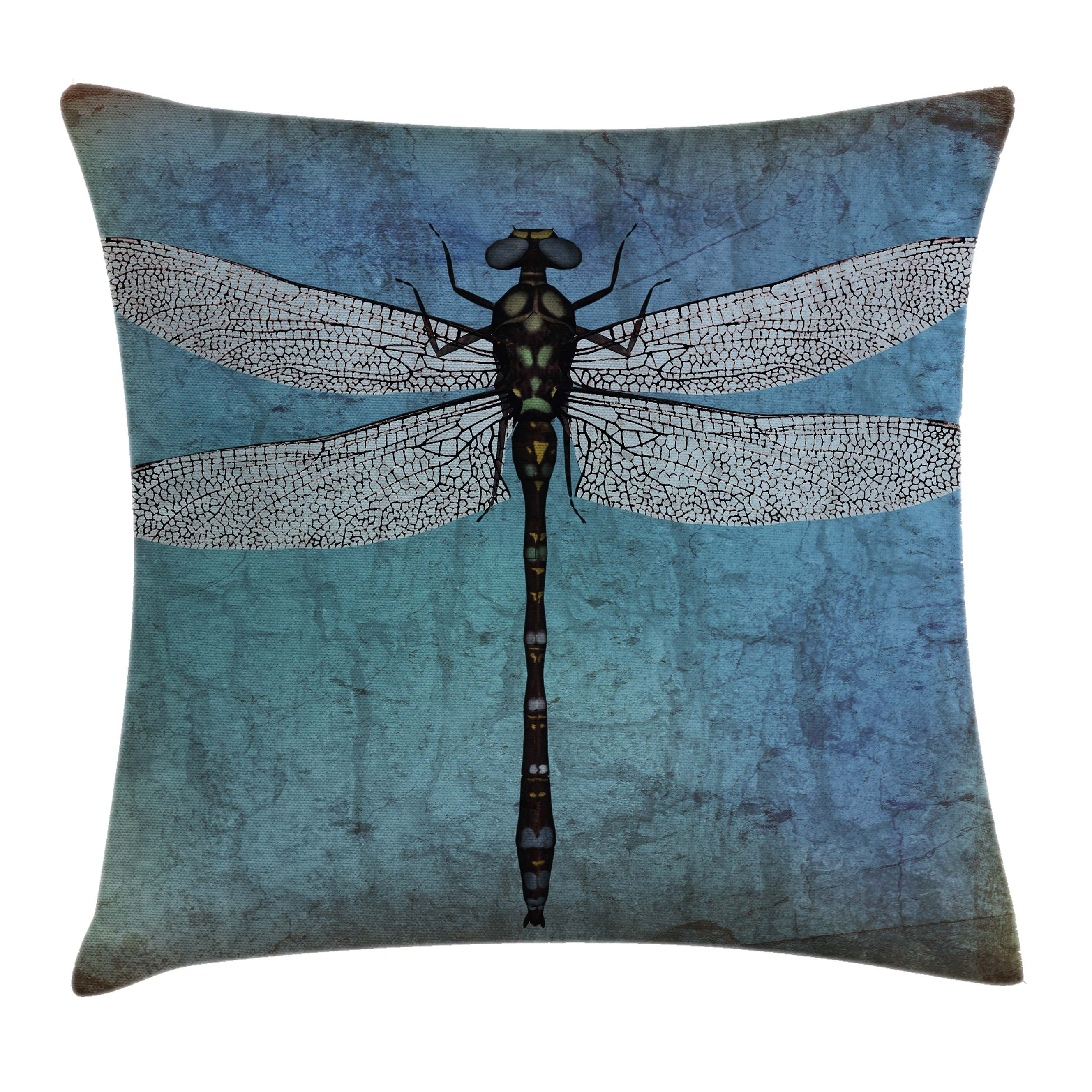 Dragonfly Throw Pillow Cushion Cover, Grunge Vintage Old Backdrop and Dragonfly Bug Ombre Image, Decorative Square Accent Pillow Case, 16 X 16 Inches, Dark Blue Turquoise and Black, by Ambesonne