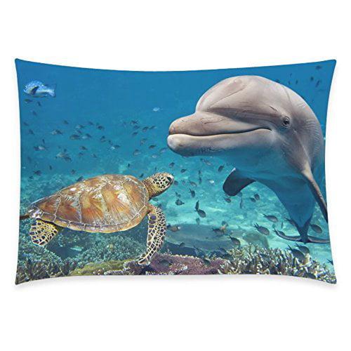 ZKGK Sea Turtle Home Decor, Ocean Fish Doplin Pillowcase 20 x 30 Inches Two Side,Sea... by ZKGK