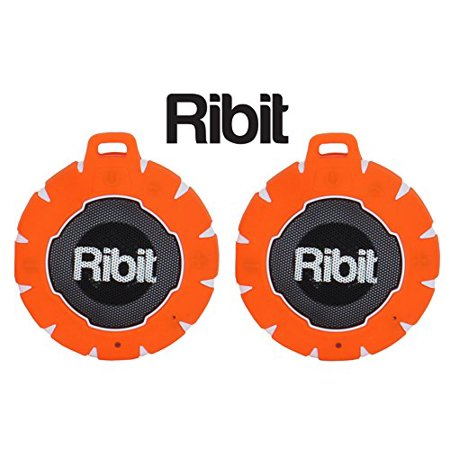 ribit orange waterproof bluetooth speakers - ipx7 outdoor wireless speakers - best bluetooth speakers for pool and shower - floating stereo speaker pair (orange) ribit waterproof bluetooth speakers - ipx7 outdoor wireless speakers - best bluetooth speakers for pool and shower - floating stereo speaker pair