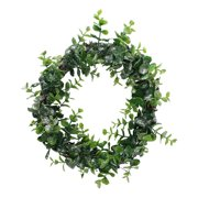 """8.75"""" Sparkling Silver and Green Grass Decorative Christmas Wreath"""