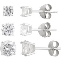 Designs by Helen Andrews Sterling Silver CZ Round 4mm, 5mm and 6mm Stud Earrings Set