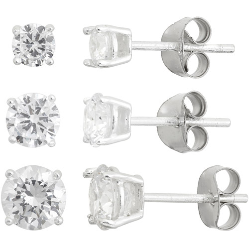 White CZ Round 4mm, 5mm and 6mm Sterling Silver Stud Earrings Set