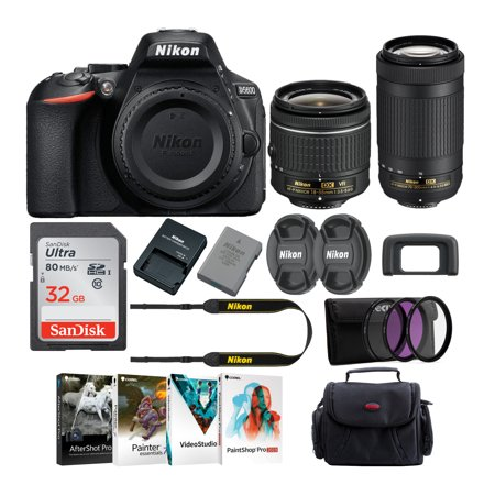 Nikon D5600 DSLR Camera with 18-55 and 70-300 Lens and 58mm Filter 3-Pack Bundle