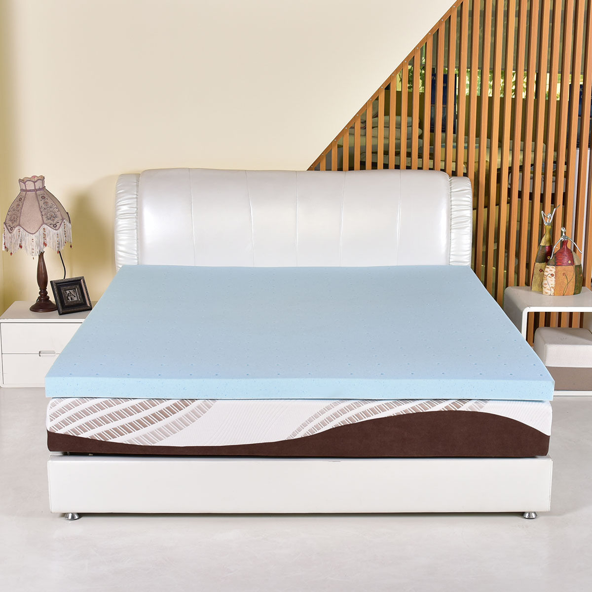 Costway King Size 3'' Gel Memory Foam Mattress Mat Bed Pad Topper Furniture