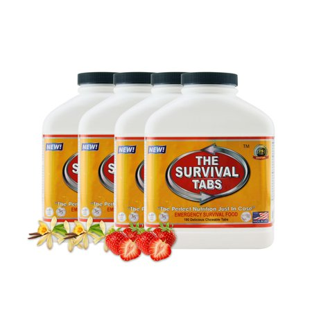 Survival Tabs 60 Day 720 Tabs Emergency Food Survival MREs Meal Replacement for Disaster Preparedness Gluten Free and Non-GMO 25 Years Shelf Life Long Term - Vanilla and Strawberry