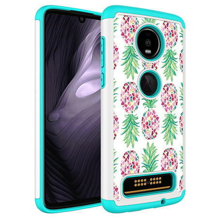 Moto Z4 Play Case, KAESAR Hybrid Dual Layer Graphic PU Leather Colorful TPU Fashion Protective Cover Armor Case for Motorola Moto Z Play 4th Generation (Pineapple)