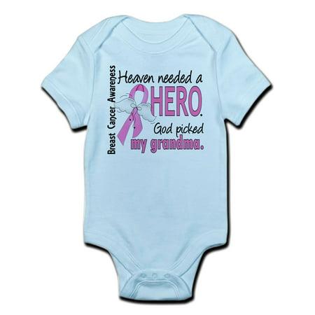 CafePress - Heaven Needed A Hero Breast Cancer Infant Bodysuit - Baby Light Bodysuit (Cancer Infant Bodysuit)