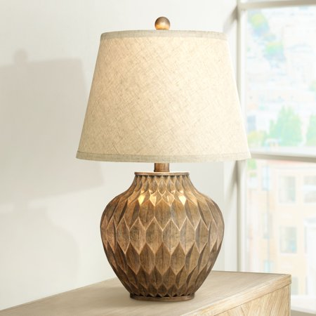 360 Lighting Modern Accent Table Lamp Warm Bronze Geometric Urn Tapered Drum Shade for Living Room Family Bedroom Bedside Office