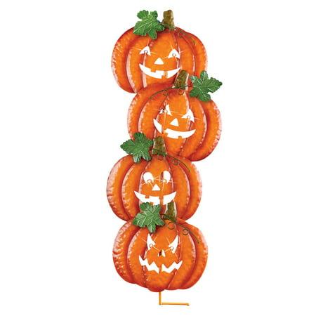 Thanksgiving Yard Stakes (Lighted Stacked Jack-O-Lantern Metal Yard Stake with LED Eyes - Outdoor Halloween)