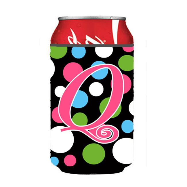 Carolines Treasures CJ1038-QCC Letter Q Initial Monogram - Polkadots And Pink Can Or Bottle  Hugger - image 1 de 1