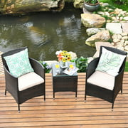 Gymax 3PCS Patio Outdoor Rattan Furniture Set w/ Cushioned Chairs Coffee Table