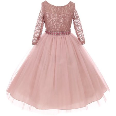 Little Girls Dress Lace Top Rhinestones Tulle Holiday Christmas Party Flower Girl Dress Mauve Size 2 - Holiday Lace Dress
