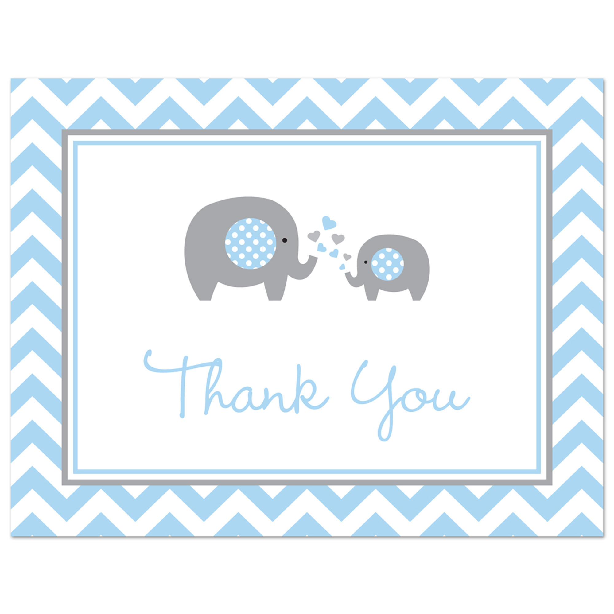 Pink Elephant Baby Shower Thank You Cards and Envelopes - 50 Count