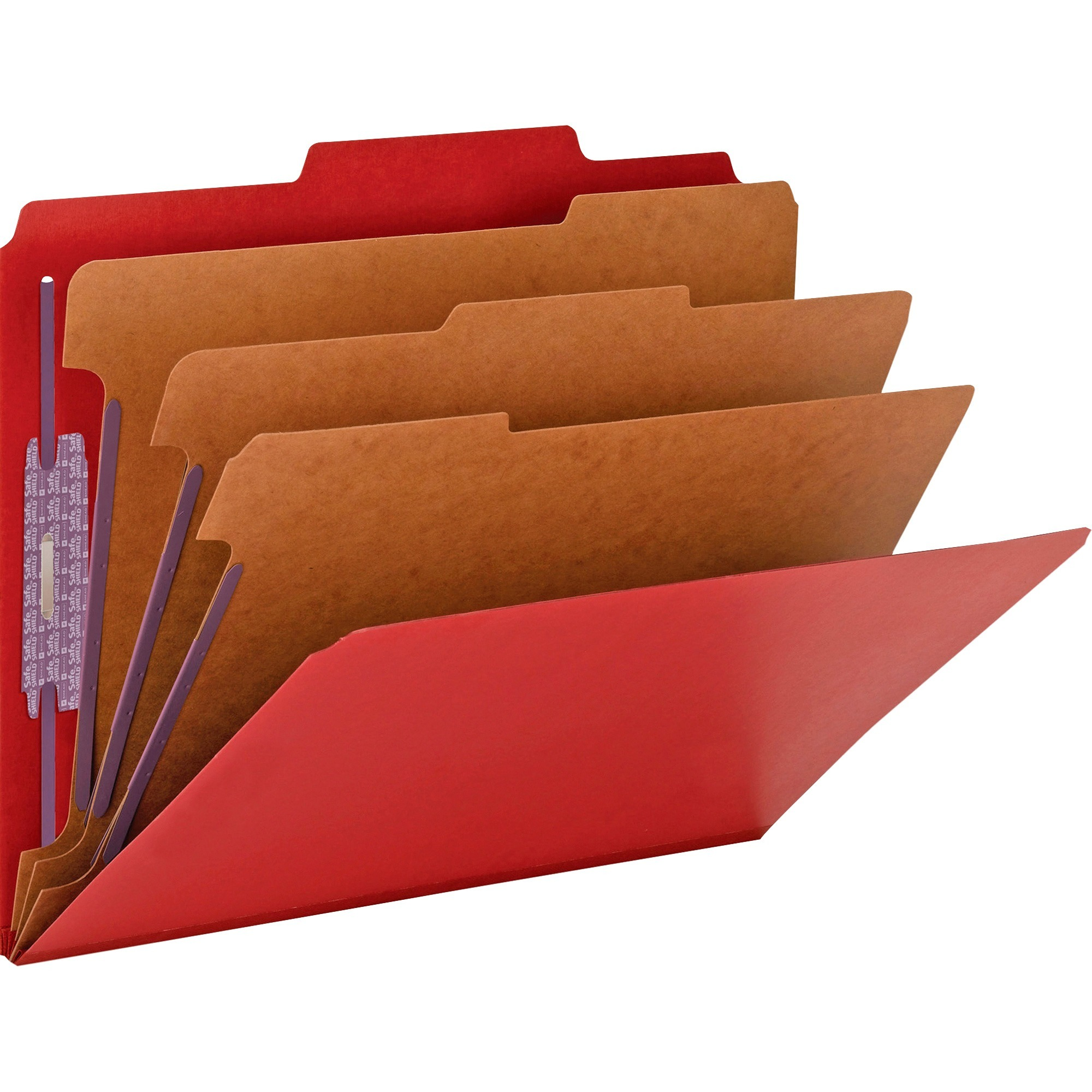 """Smead Pressboard Classification File Folder with SafeSHIELD® Fasteners, 3 Dividers, 3"""" Expansion, Letter Size, Bright Red, 10 each per Box (14095)"""