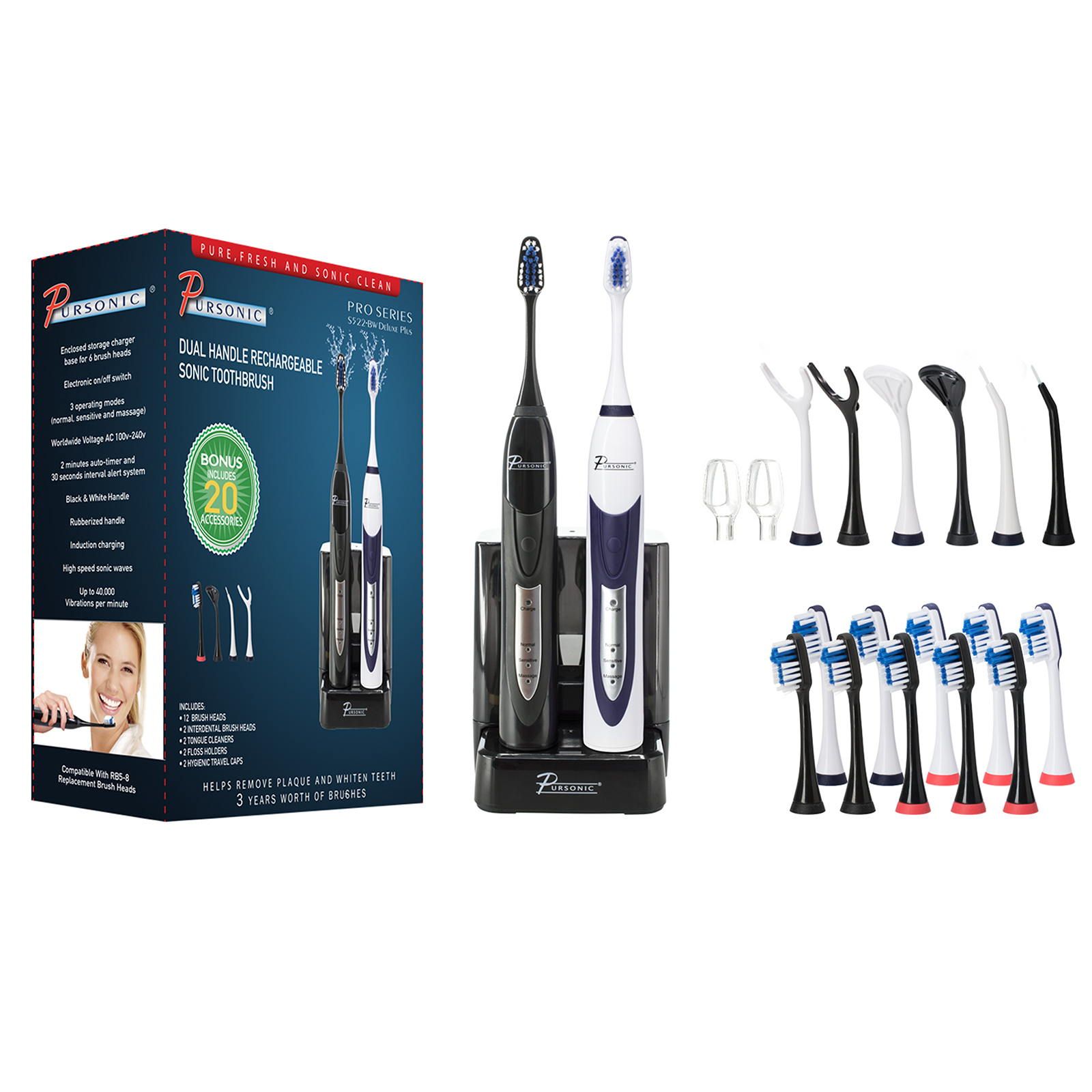 Pursonic Dual Handle Ultra High Powered Sonic Electric Toothbrush with Dock, 12 Brush Heads & More!-Black and White