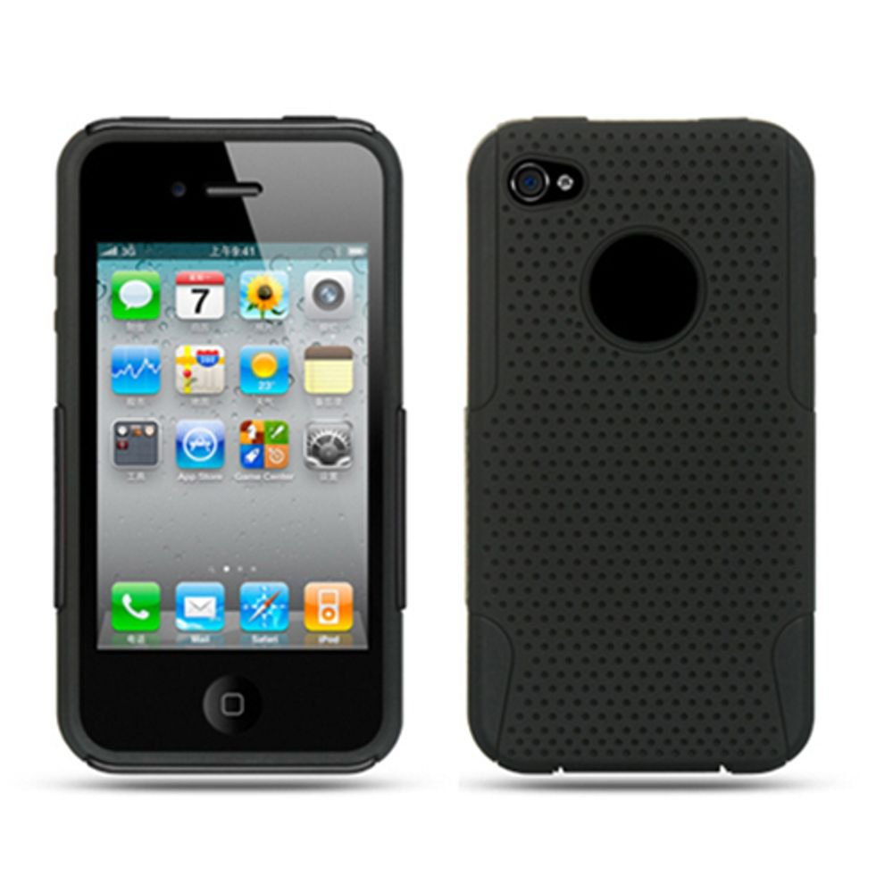 brand new 69461 10e34 iPhone 4S Case, iPhone 4 Case, by Insten Mesh Dual Layer Hybrid Rubberized  Hard Plastic/Soft Silicone Case Cover For Apple iPhone 4 - Orange/Black