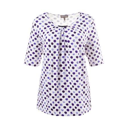 ed66061a93e Ulla Popken - Ulla Popken Women's Plus Size Pleated Front Spotty Tunic Top  708814 - Walmart.com