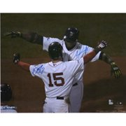 """David Ortiz and Dustin Pedroia Red Sox Autographed 20"""" x 24"""" Hugging Photograph - Fanatics Authentic Certified"""