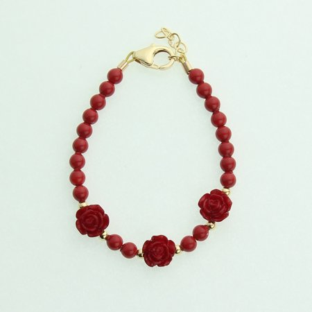 14k Coral Bracelet (Red Coral Pearls and Flowers with 14kt Gold Filled Beads)