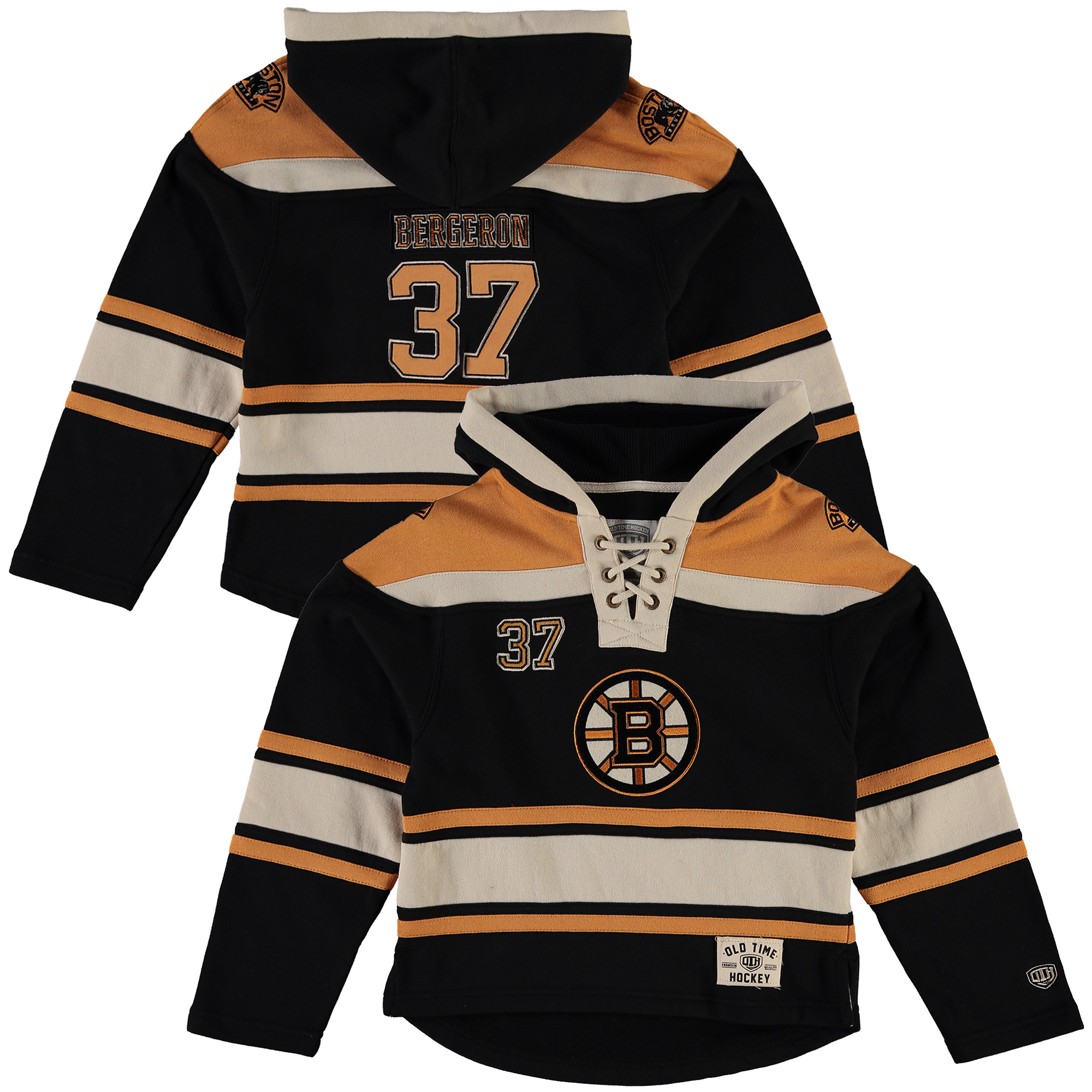 Patrice Bergeron Boston Bruins Old Time Hockey Youth Current Player Lacer Name & Number Pullover Hoodie Black by Old Time Hockey