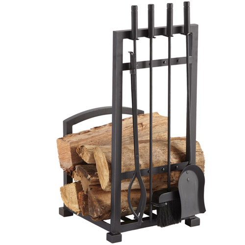 Pleasant Hearth 4-Piece Harper Fireplace Toolset with Log Holder