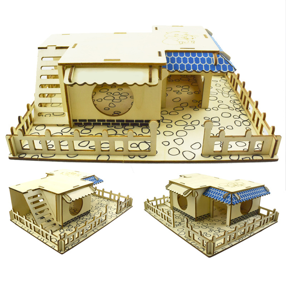 Double-Storey Villa Balcony Tunnel Toy Playground Small Pet Stairs Grehod Hamster House