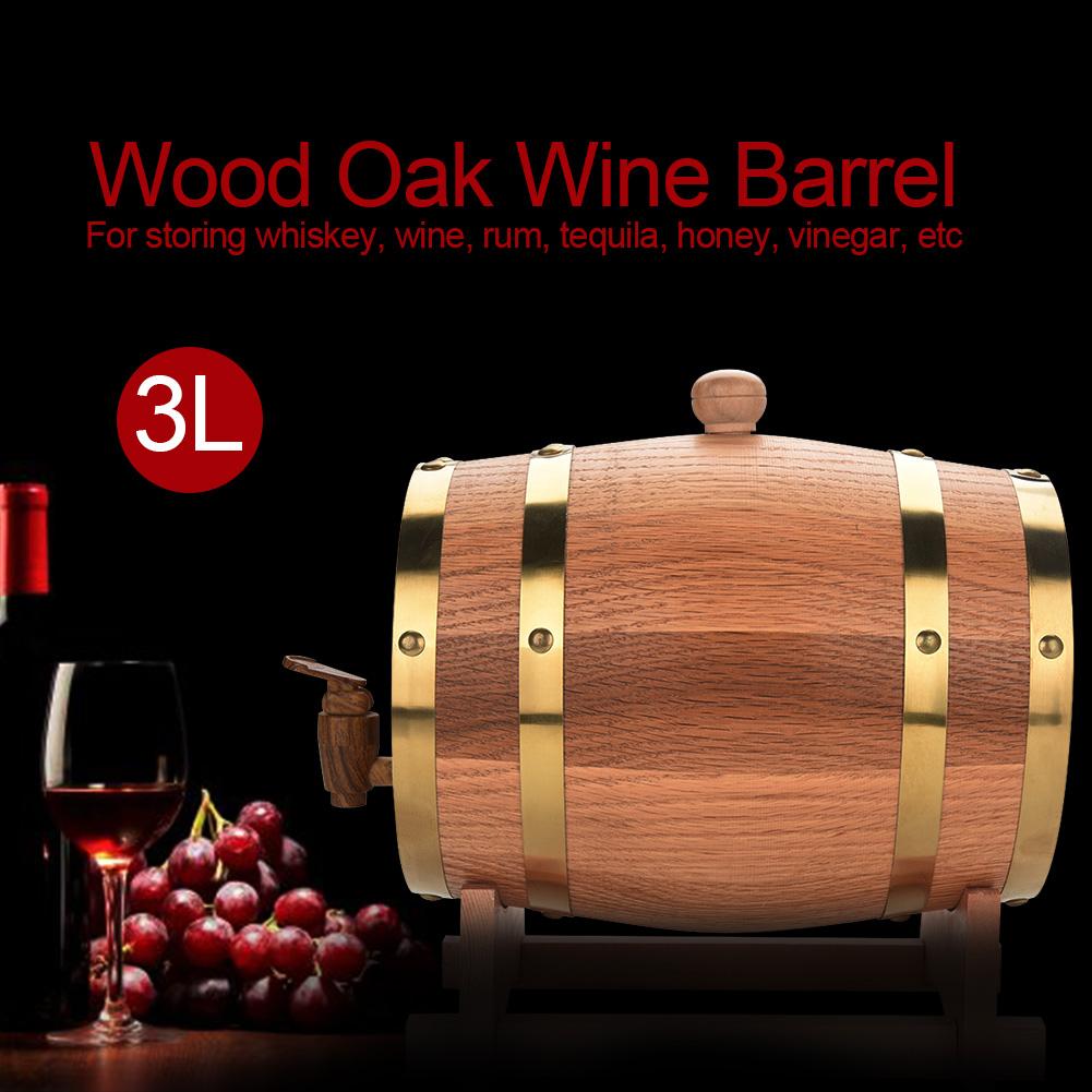 Yosoo Wood Wine Barrel,Oak Wine Barrel,3L Vintage Wood Oak Timber Wine Barrel Dispenser for Whiskey Bourbon Tequila - image 4 of 8