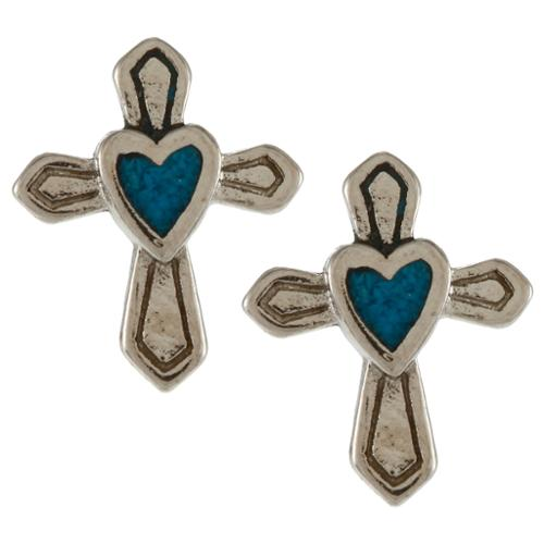 Southwest Moon Silvertone Turquoise Inlay Heart in Cross Post Earrings