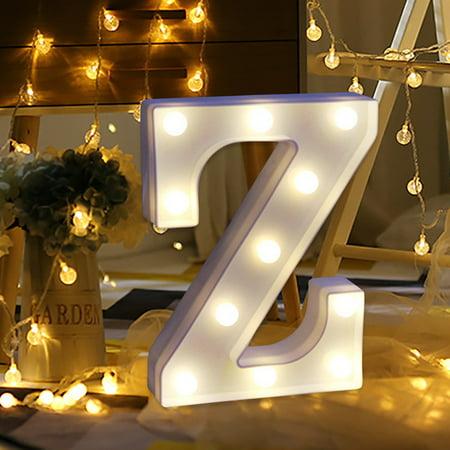 Alphabet Led Letter Lights Light Up White Plastic Letters Standing Hanging Z