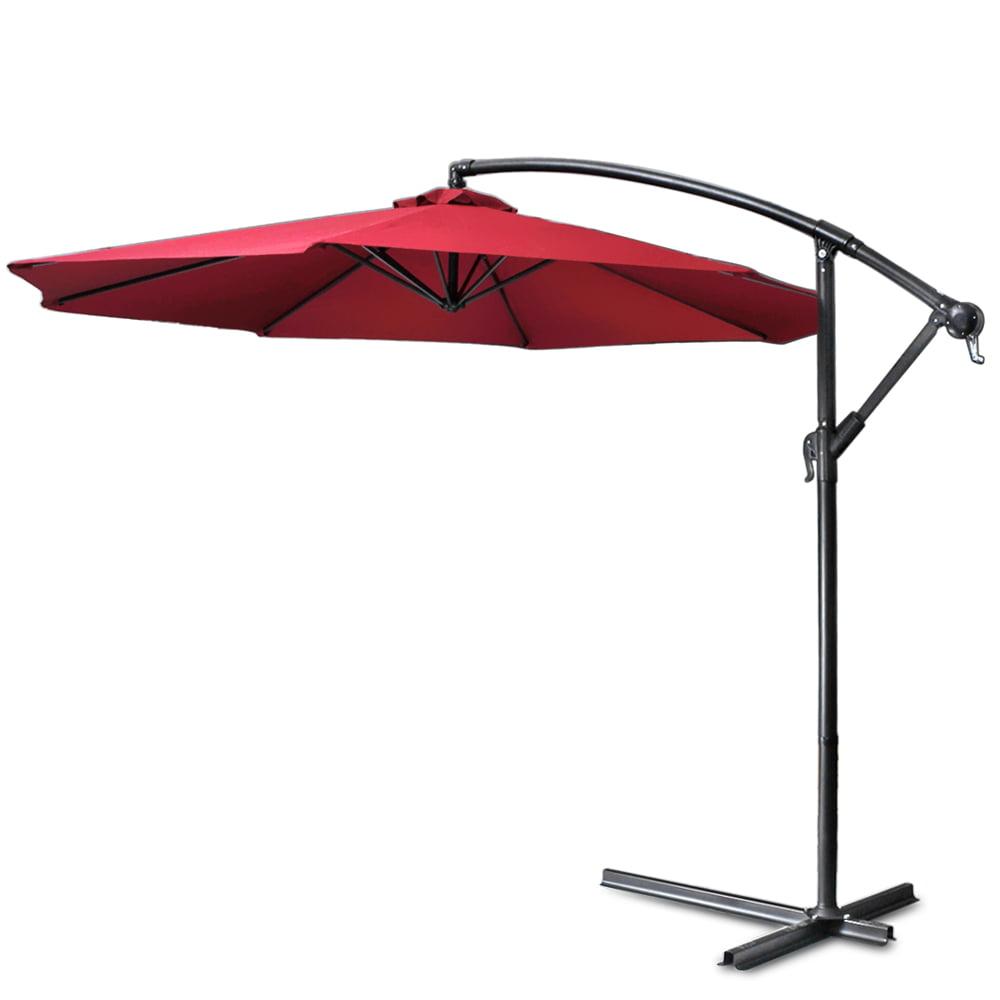 10 ft patio umbrella offset hanging folding sun shade cantilever w Base for 10 Ft Umbrella