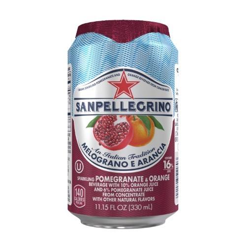 San Pellegrino Sparkling Beverage, Pomegranate ; Orange, 11.1 Fl Oz, 24 Count