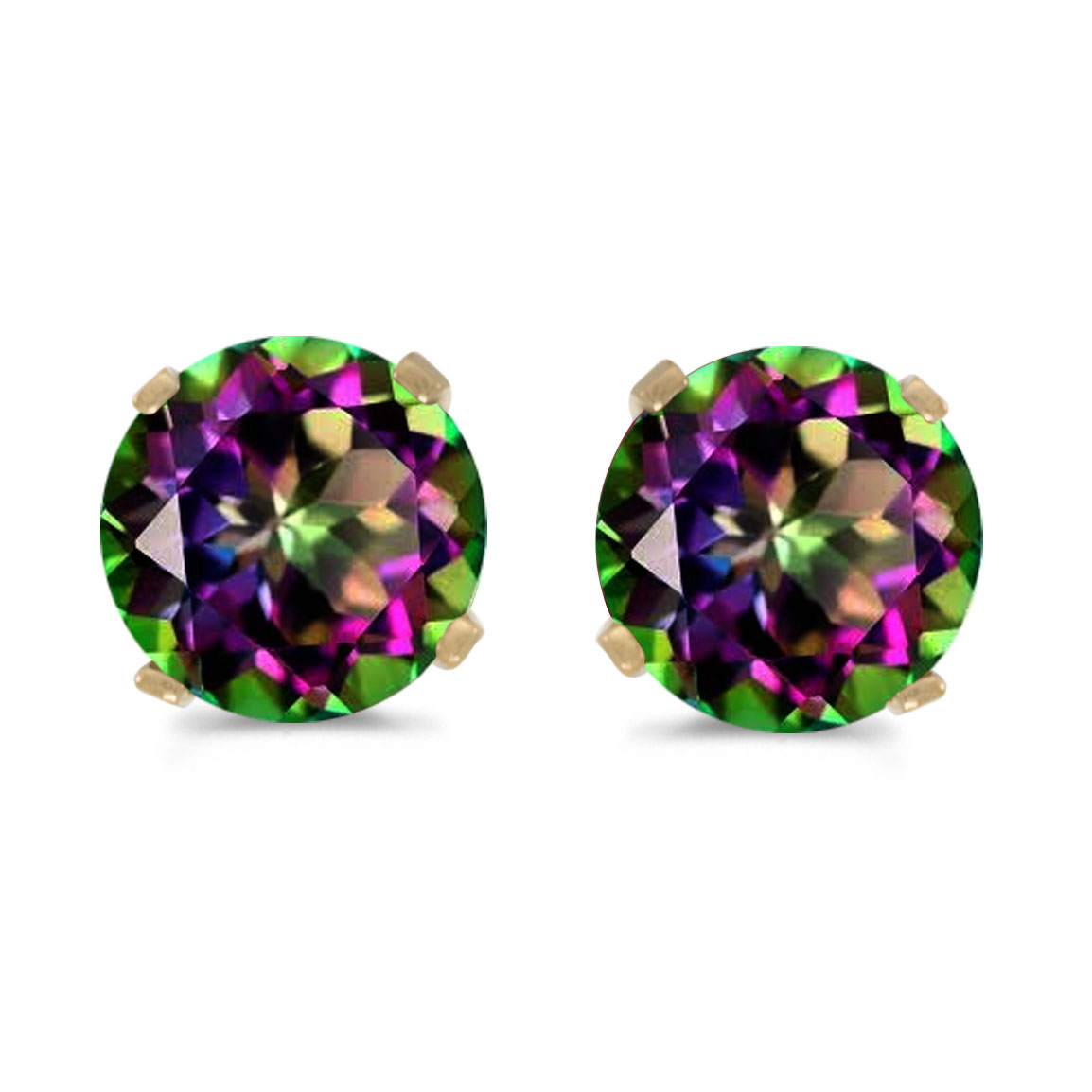 5mm Round Mystic Topaz Stud Earrings Set in 14k Yellow Gold by