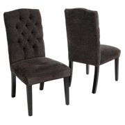 Fabric Dining Chair in Dark Gray - Set of 2