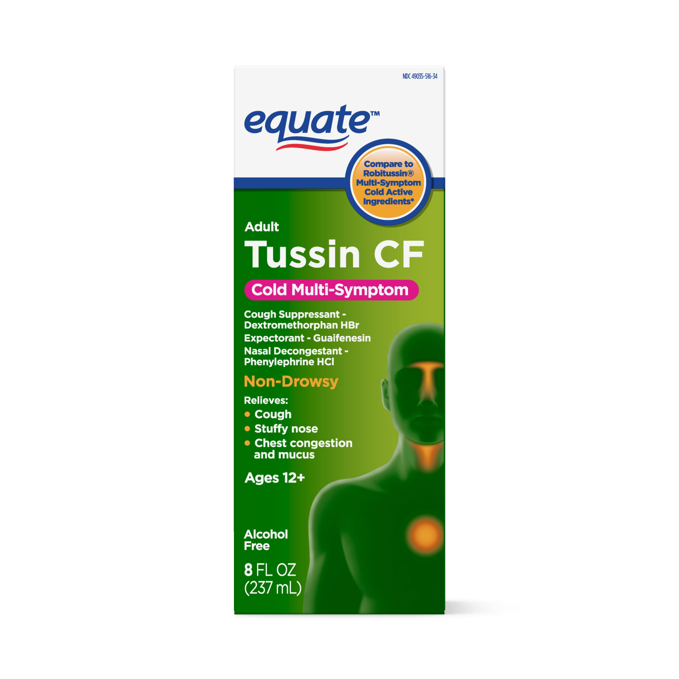 Equate Tussin Cough & Cold, Wild Cherry Flavor; Multi-Symptom Cold Medicine Relieves Cough, Nasal Congestion and Chest Congestion, 8 Fluid Ounces