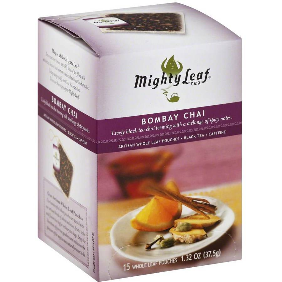 Mighty Leaf Tea Bombay Chai Artisan Whole Leaf Black Tea Pouches, 15 count, 1.32 oz, (Pack of 3)