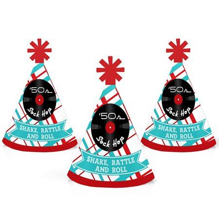 50's Sock Hop - Mini Cone 1950s Rock N Roll Party Hats - Small Little Party Hats - Set of 10 - Rock And Roll Dress Up Ideas