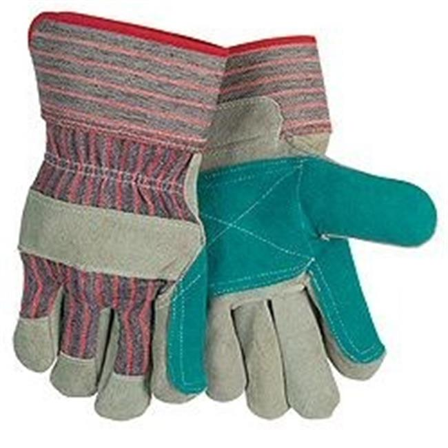 Major Gloves & Safety 30-3110 Leather Green Double Palm Work Gloves Pack - 6 Dozen