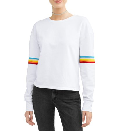 Junior Snowboard Clothing - Juniors' Retro Rainbow Varsity Stripe Pullover Sweatshirt