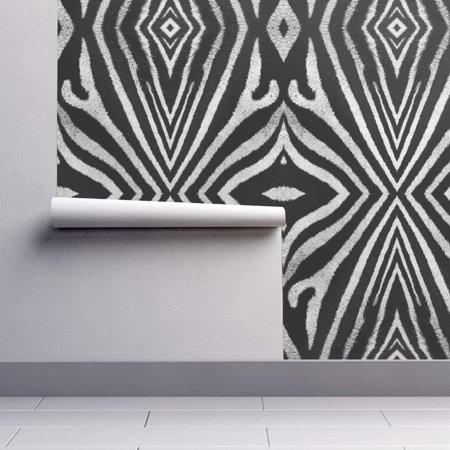 Peel-and-Stick Removable Wallpaper Zebra Zebra Fur Pattern Black White Safari