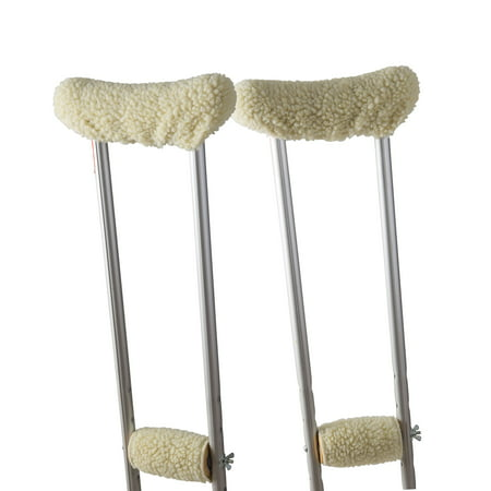 DMI Crutch Pads Fleece Underarm and Hand Grip Covers with Soft, Comfortable Cushioning, Ivory Underarm Crutch Pad